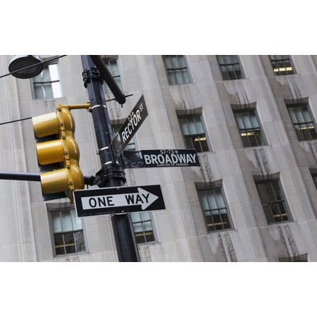 Street sign and traffic light on Broadway New York City New York United States of America - Broadway Signs