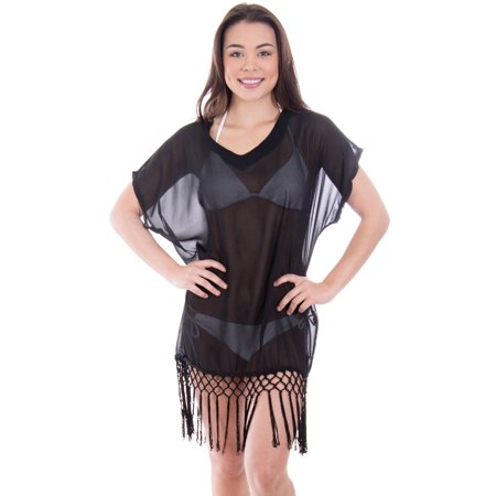839026b16ae38 Simplicity - Women s Swimwear Knit Crochet Fringed Cover-Up Beach ...