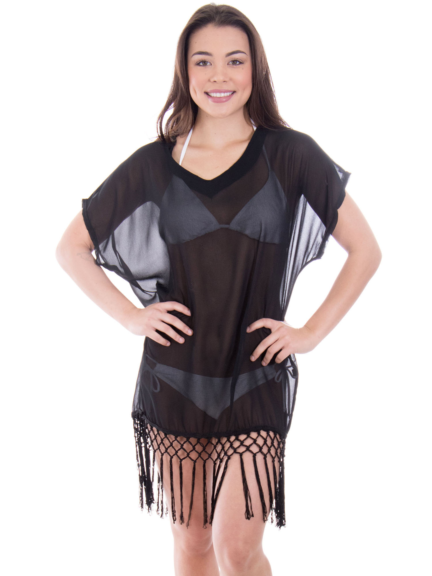 Women's Swimwear Knit Crochet Fringed Cover-Up Beach Dress, Black