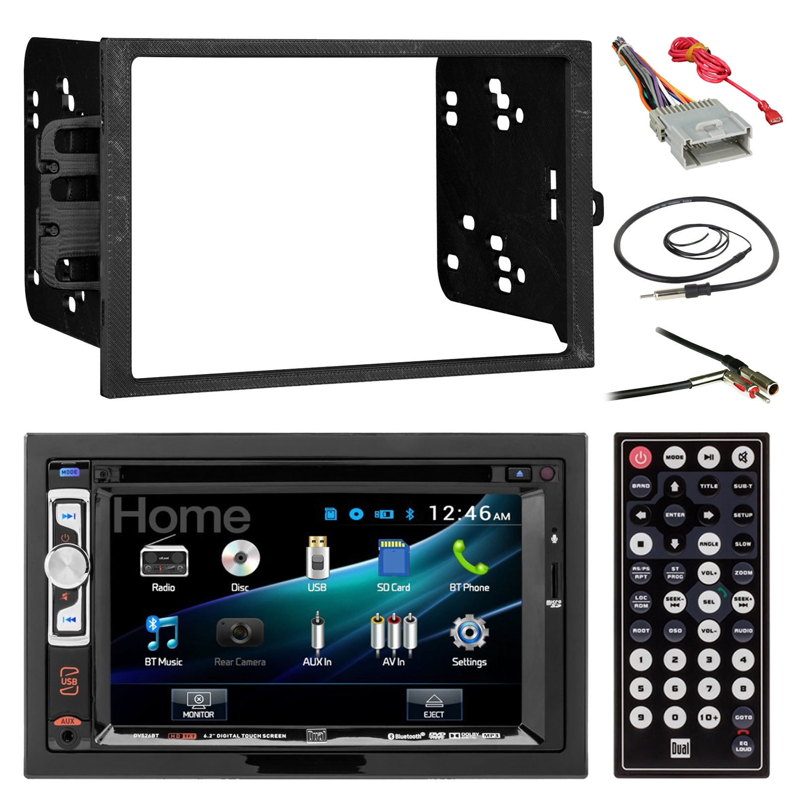 Dual Car Stereo Wire Harness Box Wiring Diagram Model Cd770 Dv526bt 6 2 Double Din Cd Dvd Bluetooth Receiver Harley 12 Pin