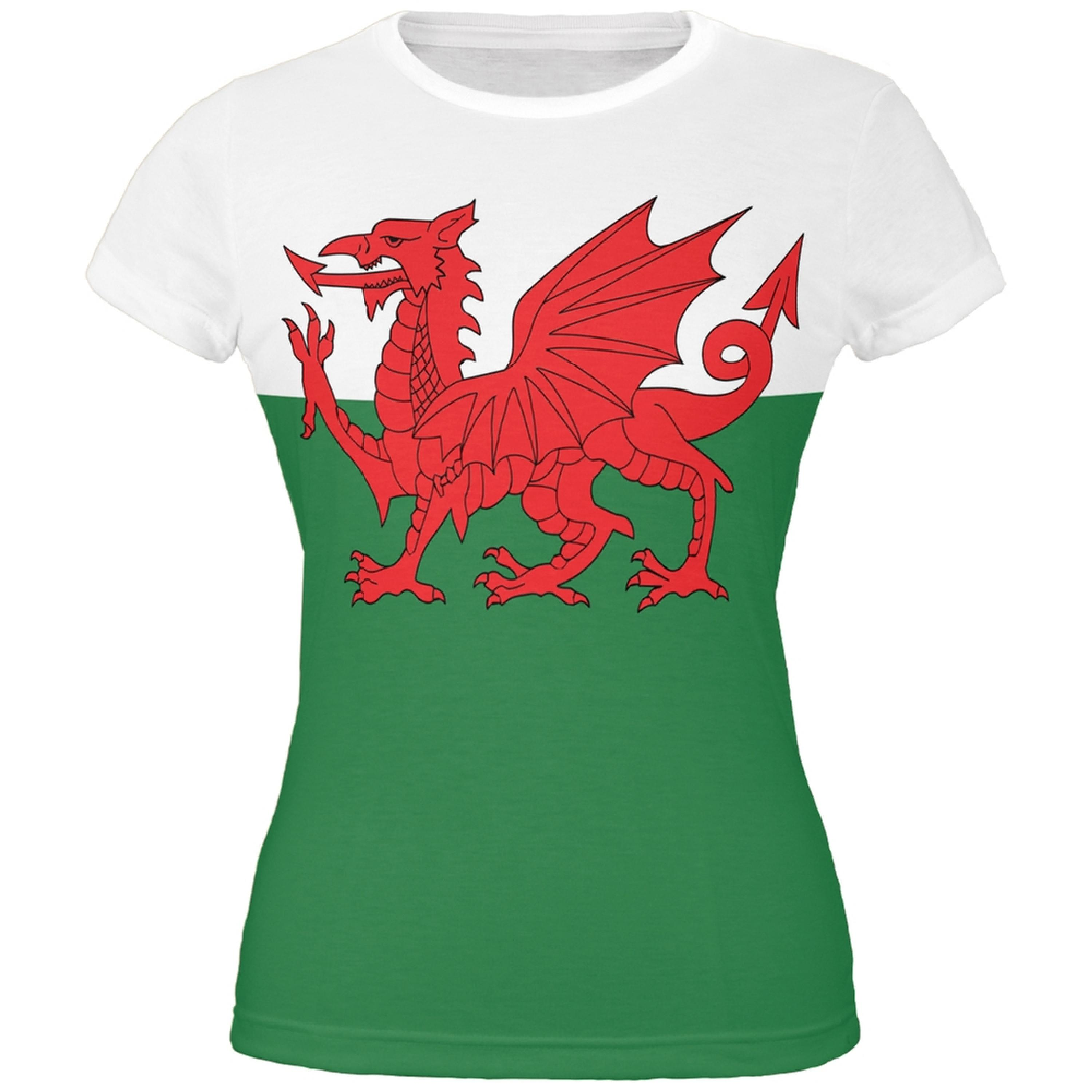 Welsh Flag All Over Juniors T-Shirt