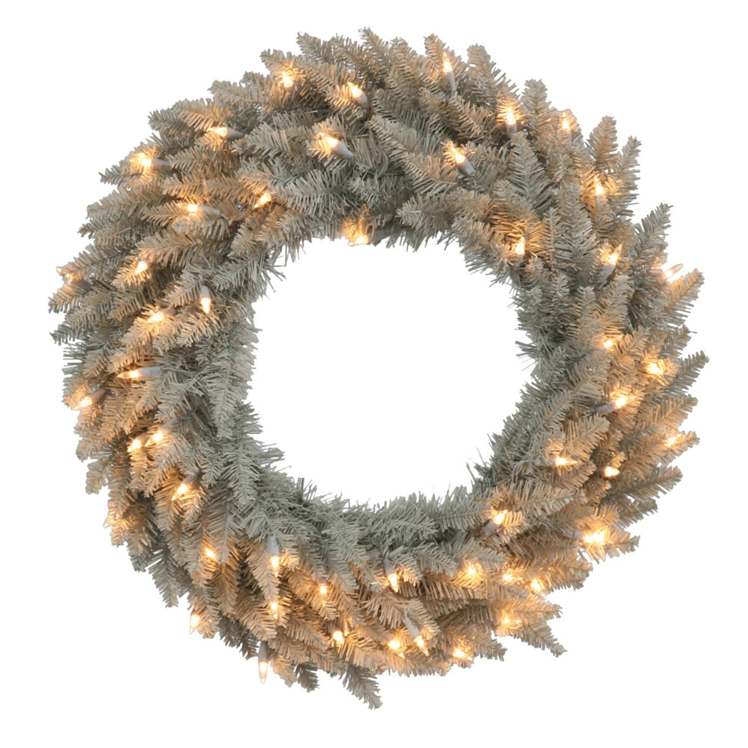 "24"" Pre-Lit Grey Fir Artificial Christmas Wreath - Clear Mimi Lights"