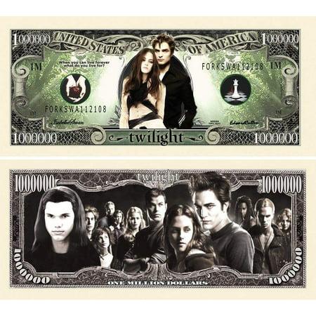 Five Dollar Gift Card - 5 Twilight Million Dollar Bills with Bonus Thanks a Million Gift Card Set