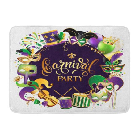 GODPOK Gold Colorful Mardi with Golden Carnival Masks on Black Glittering Celebration Festive Border Gras Party Rug Doormat Bath Mat 23.6x15.7 inch