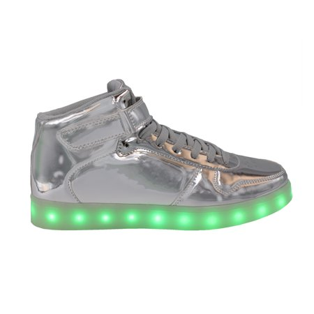 Galaxy LED Shoes Light Up USB Charging High Top Strap & Lace Men?s Sneakers (Silver Glossy) ()
