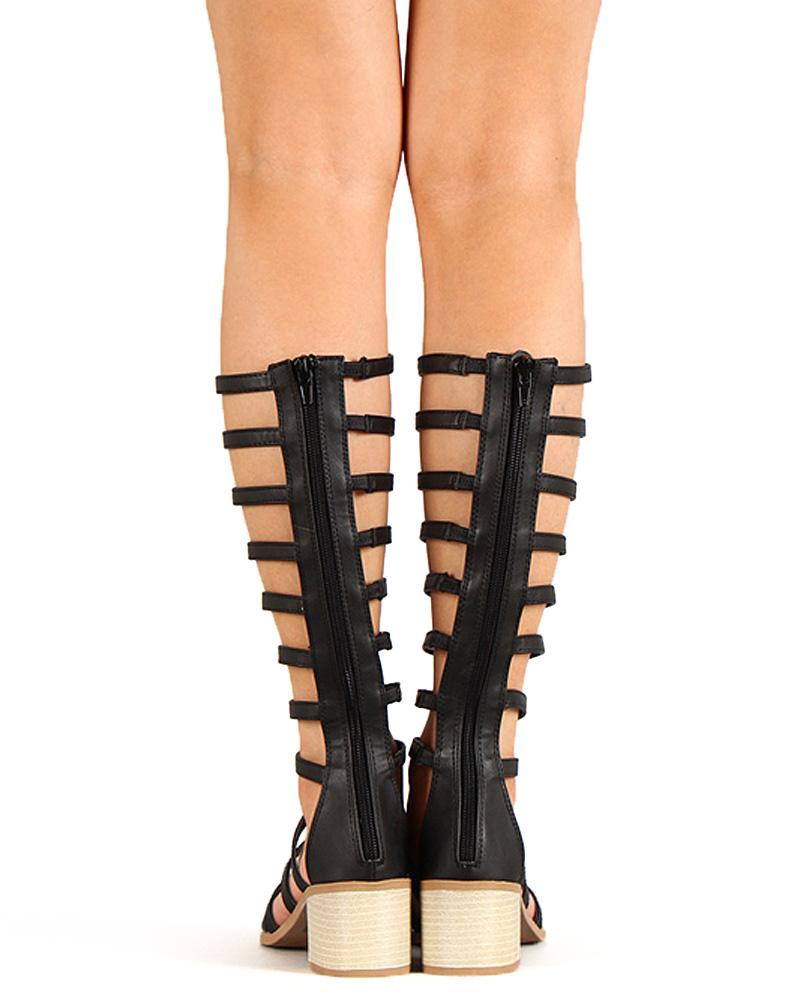 Qupid Women's Kirby-04X Gladiator Sandal with Heel, Black, 6.5