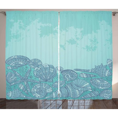 Oyster Living Room Set (Nautical Curtains 2 Panels Set, Marine Beauty Shell with Seahorse Starfish Oysters Ocean Sea Tropical Image, Window Drapes for Living Room Bedroom, 108W X 84L Inches, Turquoise Teal, by)