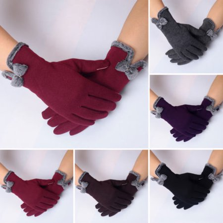 Winter Warm Thick Soft Cashmere Touch Screen Fleece Gloves For Women Ladies