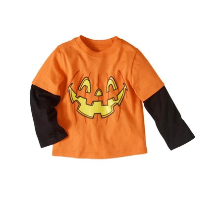 Toddler Boys Halloween T-Shirt Orange & Black Pumpkin Layered Tee](Toddler Boy Halloween T Shirts)