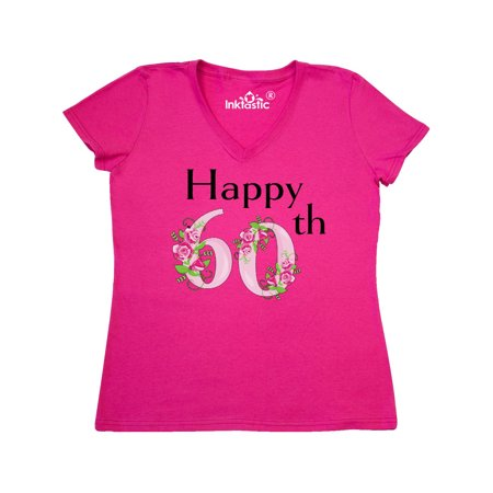 Happy 60th Birthday With Roses Womens V Neck T Shirt
