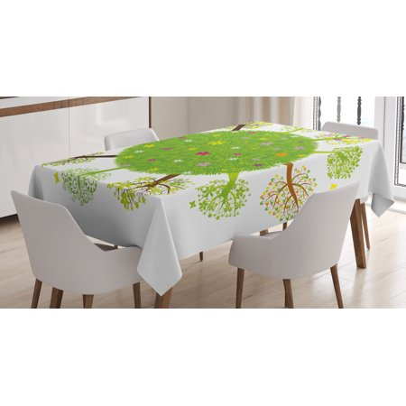 Earth Tablecloth  Various Green Trees Around The World In Full Blossom Spring Season Eco Planet Flowers  Rectangular Table Cover For Dining Room Kitchen  52 X 70 Inches  Multicolor  By Ambesonne