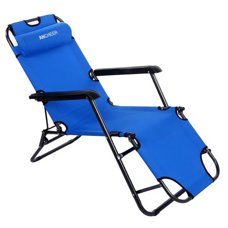 Folded Recliner Folding Lounge Nylon Chair Chaise Patio Outdoor Pool Beach Lawn Recliner With Pillow For Lying Down And Sitting