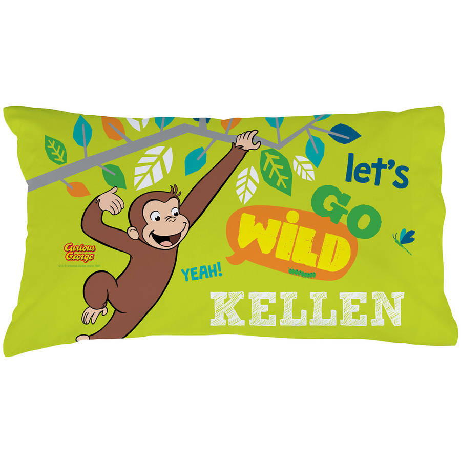 Personalized Curious George Let's Go Wild Pillowcase