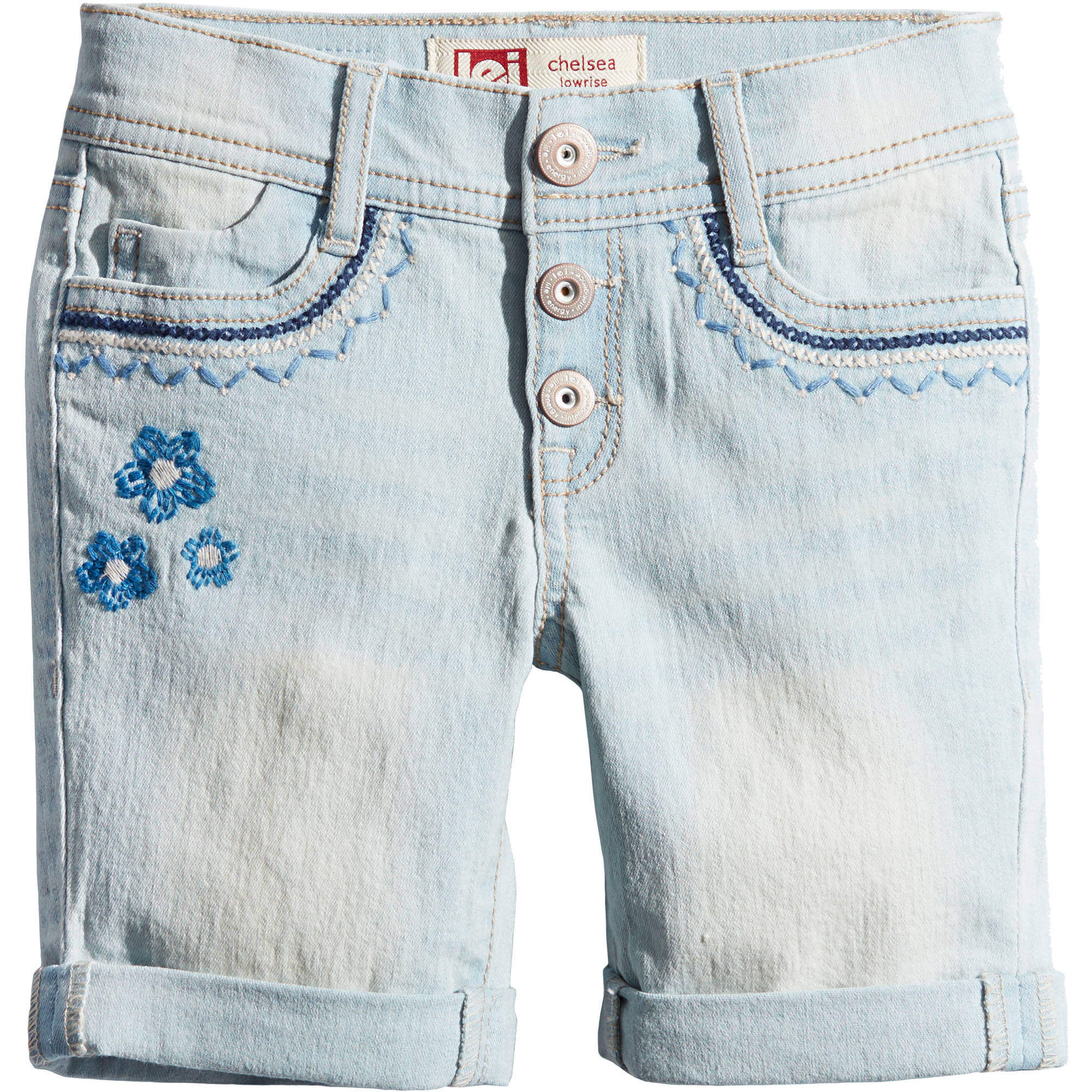girls' denim midi shorts button front embellished