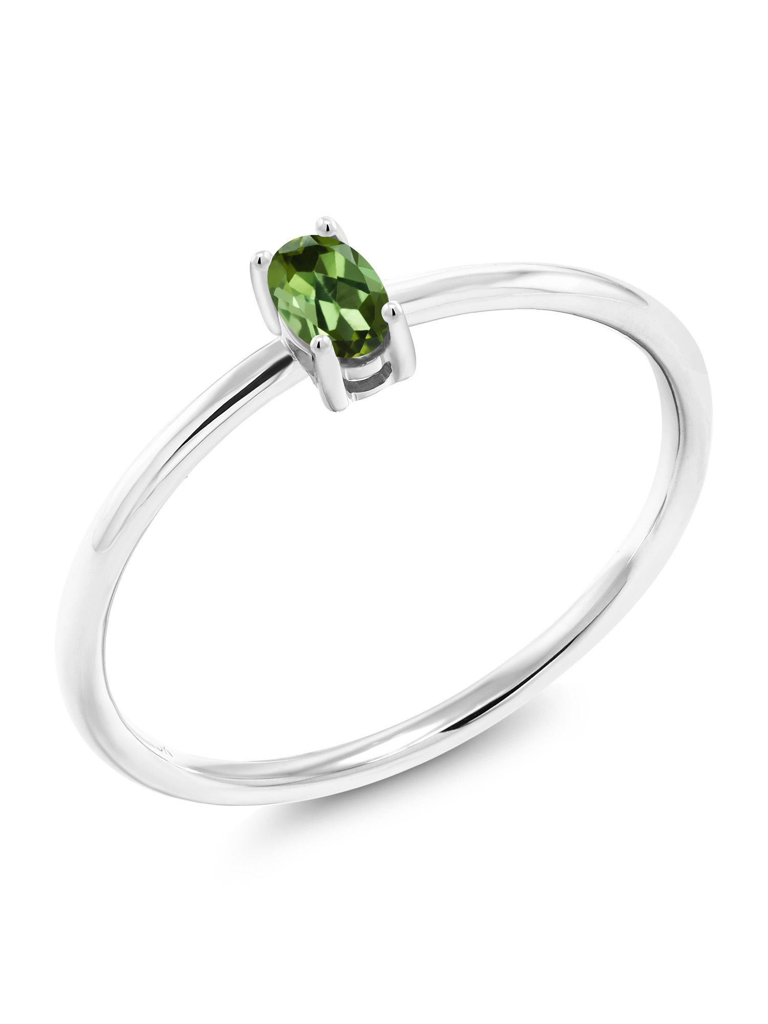 0.26 Ct Oval Green Tourmaline 10K White Gold Ring by