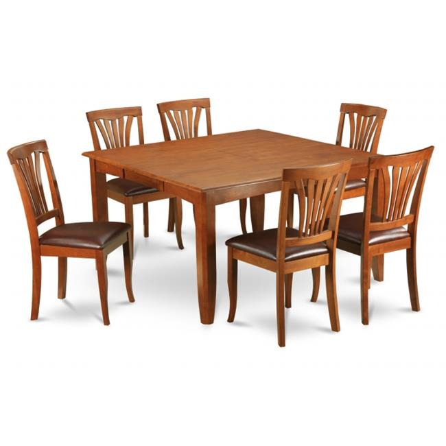 Wooden Imports Furniture PFAV9-SBR-LC 9PC Parfait Square Table with 18''Butterfly Leaf & 8 Faux Leather upholstered Seat