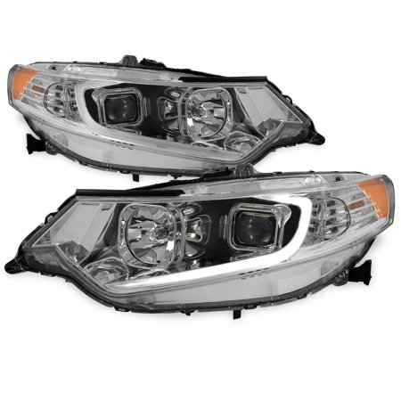 2009-2014 Acura TSX LED DRL Tube Projector Chrome Headlights Headlamp Left+Right Acura Tsx Headlight Assembly
