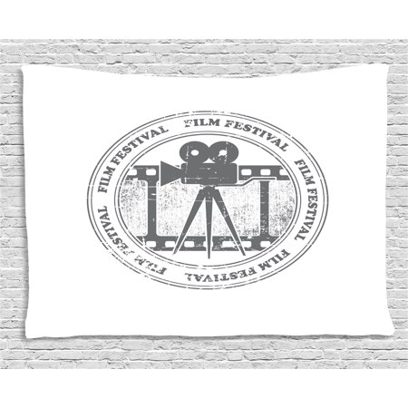 Movie Theater Tapestry, Film Festival Grungy Round Stamp with an Antique Projection Camera Silhouette, Wall Hanging for Bedroom Living Room Dorm Decor, 60W X 40L Inches, Grey White, by Ambesonne