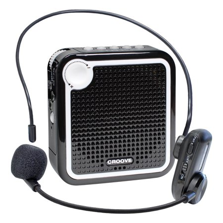 Croove Wireless Voice Amplifier: Portable Rechargeable Microphone with Headset & Belt Clip - Ideal for Classroom Teachers & Tour