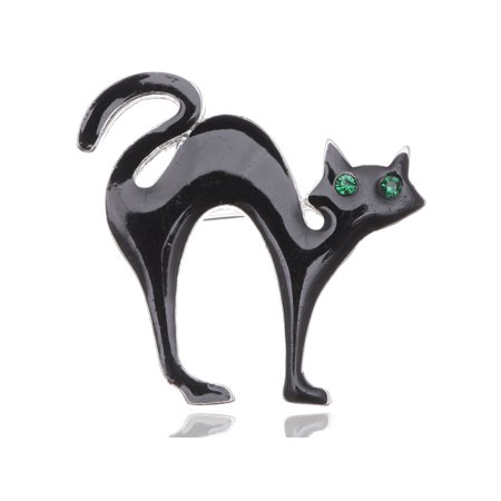 Crystal Halloween Pins (Unique Halloween Scary Black Cat Emerald Crystal Eyes Enamel Spooky Pin)