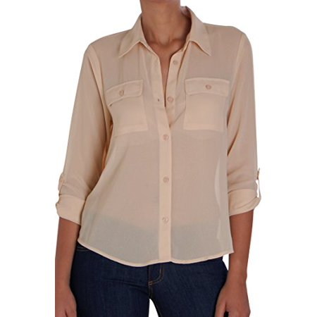 a0a6af88e Humble Chic NY - Humble Chic Women's Button Down Pocket Blouse - Tan SM -  Long Sleeve Chiffon Shirt, Nude - Walmart.com