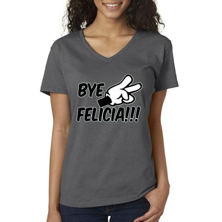 New Way 432 - Women's V-Neck T-Shirt Bye Felicia Cartoon Hands Peace Friday Parody](Black Cat Felicia)