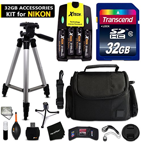 32GB Accessory Kit for Nikon Coolpix B500, L840, L830, L8...