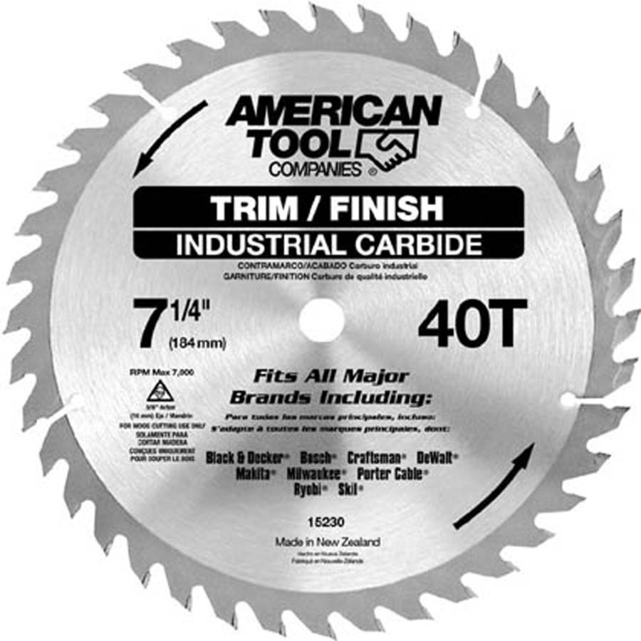"Irwin 15230ZR 7-1 4"" 40T Trim and Finish Circular Saw Blade by Irwin"