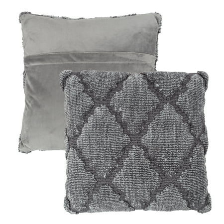 """Geometric Textured Decorative Throw Pillow and Insert- Home Décor Lattice Trellis Accent Pillow with Invisible Zipper, 18"""" by Somerset Home"""
