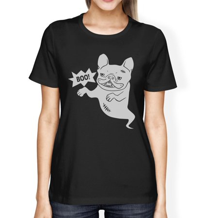 Boo French Bulldog Womens Black Round Neck Funny Halloween Tshirt Bulldogs Ladies Black Rhinestone