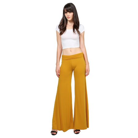 Blue Stretch Pants - FashionOutfit Women's Stretch Fold-Over High Waist Comfy Chic Solid Palazzo Pants