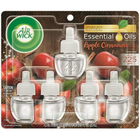 Air Wick plug in Scented Oil 5 Refills, Apple Cinnamon Medley, (5x0.67oz), Air Freshener, Essential Oils, Fall Scent, Fall