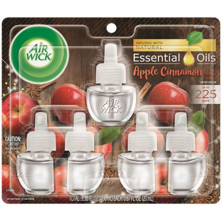 Air Wick plug in Scented Oil 5 Refills, Apple Cinnamon Medley, (5x0.67oz), Air Freshener, Essential Oils, Fall Scent, Fall décor