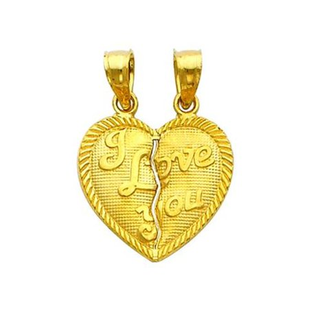 Precious Stars Jewelry 14k Yellow Gold Two Halves Make a Whole Heart 'I Love You' Charm Pendants - image 1 of 1