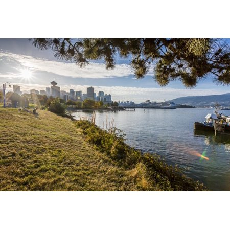 View of city skyline and Vancouver Lookout Tower from CRAB Park at Portside, Vancouver, British Col Print Wall Art By Frank Fell