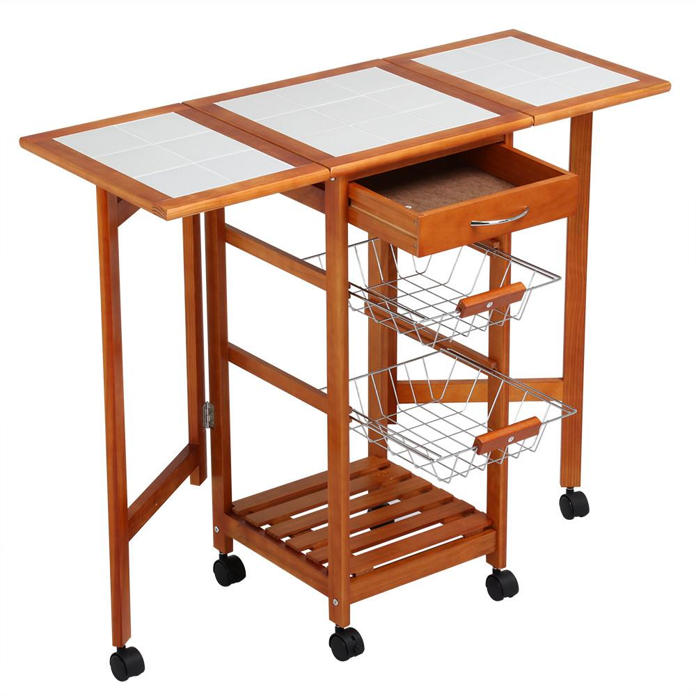 Yaheetech Portable Rolling Drop Leaf Kitchen Island Cart White Tile Top  Folding Trolley Table, 1