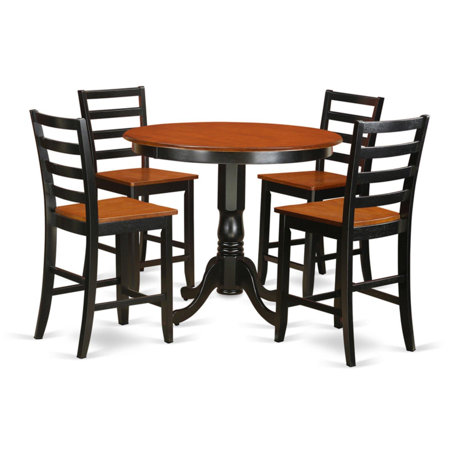 East West Furniture Trenton 5 Piece Ladder Back Dining Table Set