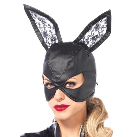 Morris Costumes UA2745BK Bunny Leather Black Mask - Black Bunny Mask