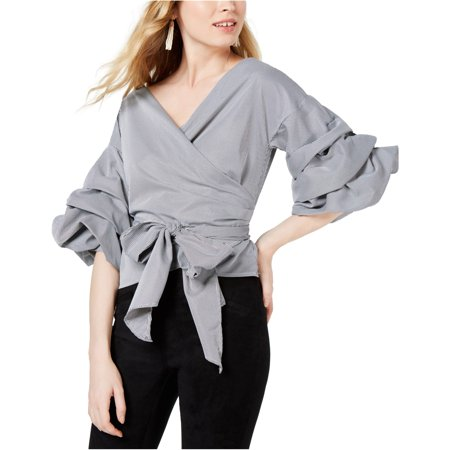 Sage The Label Womens Tiered-Sleeve Wrap Blouse