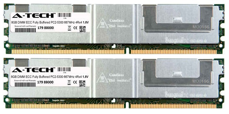 16GB Kit 2x 8GB Modules PC2-5300 667MHz 1.8V 4Rx4 ECC Fully Buffered DDR2 DIMM Server 240-pin Memory Ram