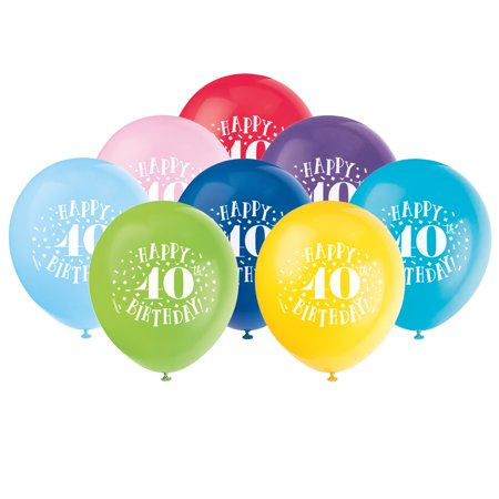 Latex Fun Happy 40th Birthday Balloons, Assorted, 12 in, -