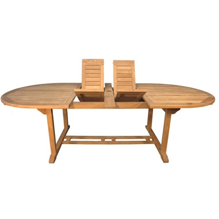 102 Quot Natural Teak Oval Double Extension Outdoor Patio