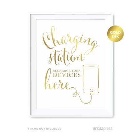 Recharge Station - Charging Station Metallic Gold Wedding Party Signs
