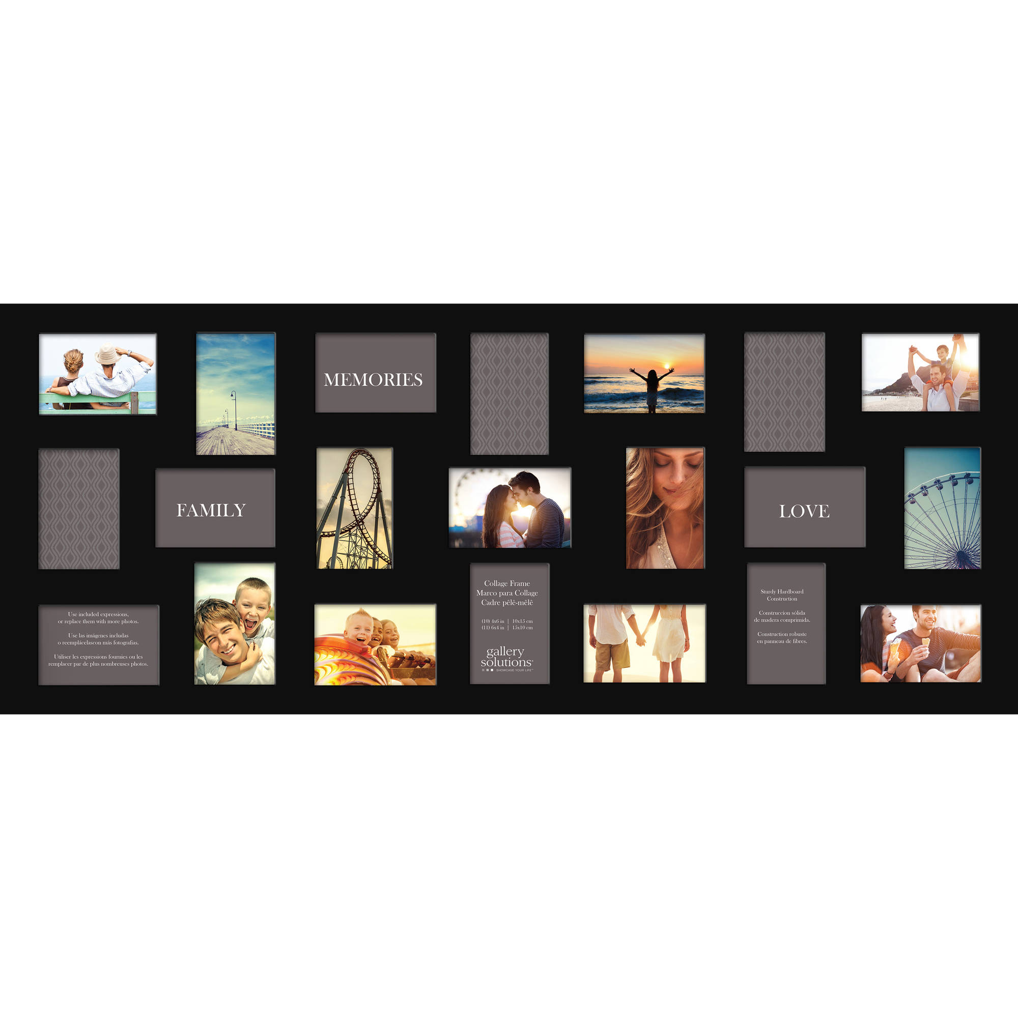 Gallery Solutions Flat Black 21 Opening Collage Wall Frame