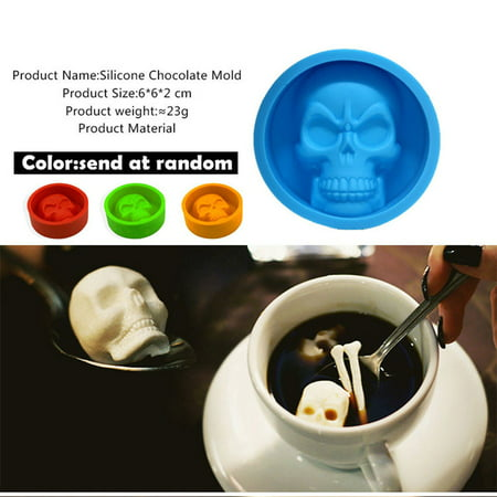 Pop Halloween 3D Skull Silicone Mold Chocolate Fondant Cake Making Baking Mould