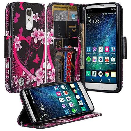 LG K8 2017 Case, LG Aristo Case, Wrist Strap Magnetic Fold[Kickstand] Pu Leather Wallet Case with ID & Credit Card Slots for LG K8 2017/Aristo - Heart Butterflies