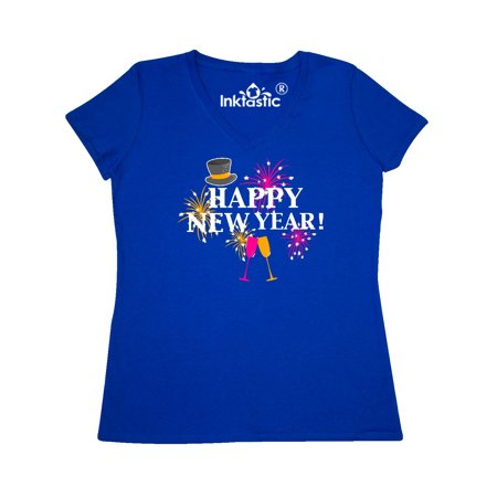 - Happy New Year with Hat Fireworks and Wine Glasses Women's V-Neck T-Shirt