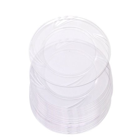 30 High Quality Clear Plastic 6 Inch Round Plates. Disposable Hard ...