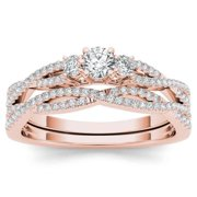 De Couer  14k Rose Gold 1/2ct TDW Diamond Three-Stone Anniversary Ring Set with One Band - Pink