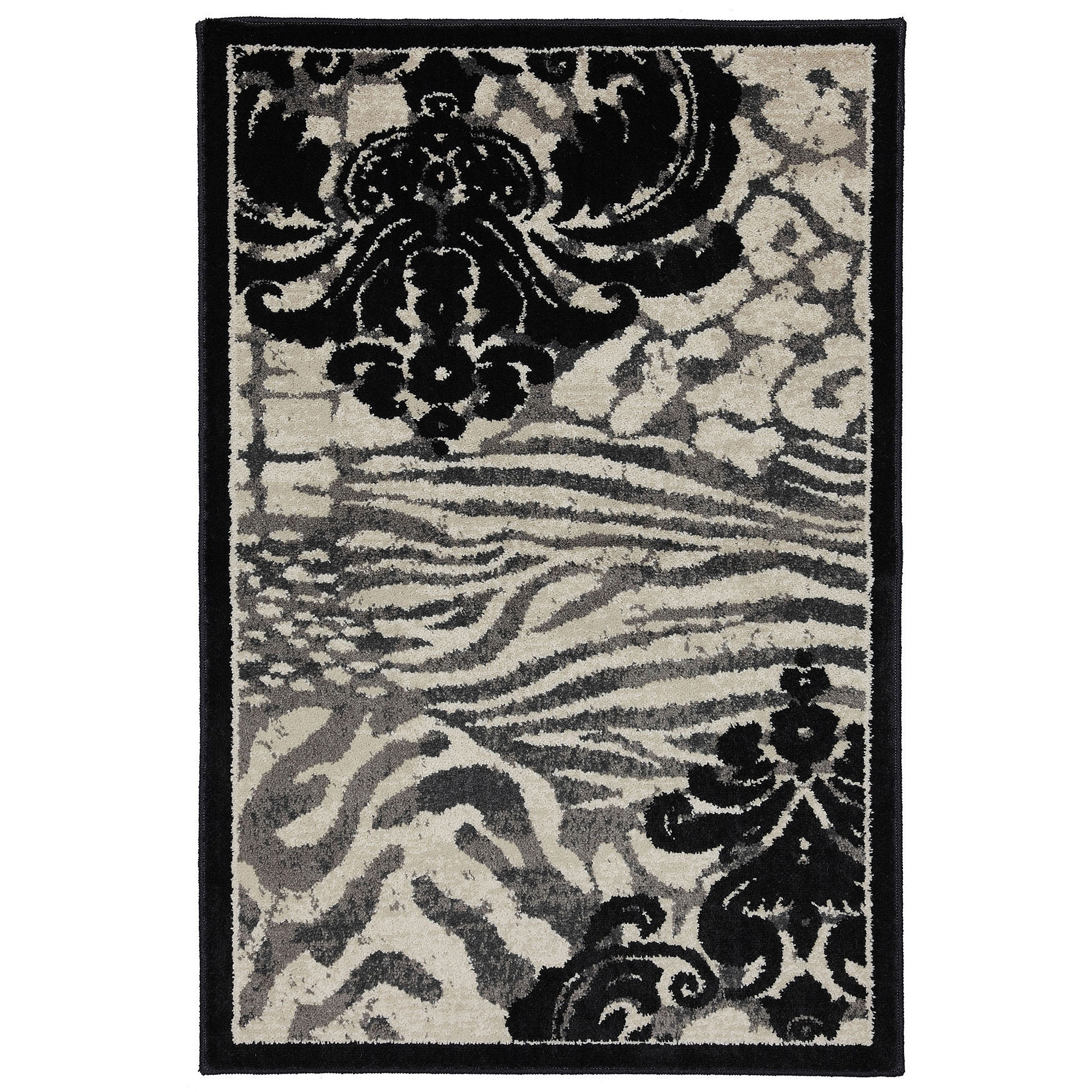 Mohawk Home Animal Damask Woven Rug Black Beige Walmart Com